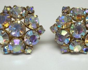 Vintage, white Aurora Borealis rhinestones earrings clip ons wedding, bridal jewelry, costume parties