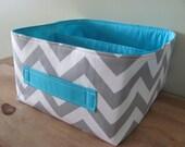 "10""x10""x6"" Fabric Basket - Diaper Caddy - Storage Bin - Toy Bucket - Nursery Decor - Gift Basket - You CHOOSE the Fabrics - Zigzag Chevron"
