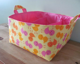 SALE Fabric Diaper Caddy - Fabric organizer storage bin basket - Urban Zoologie 3 Chicks in Spring