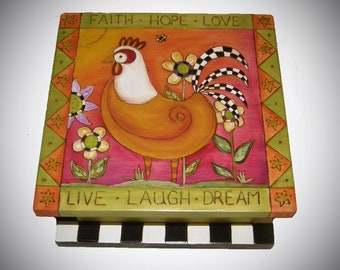 """GRATITUDE BOX - Rooster Keepsake Box - Custom Keepsake box - 10"""" Square x 5"""" tall - Whimsical Rooster -Rustic Rooster"""