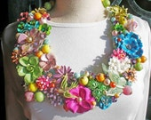 Repurposed Recycled Vintage Brooches and Earring Bib Necklace - Ferdinan's Love - Reserve For bobils