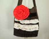 Ruffled Tote/ Coral Flower/ Fall Bag/ Purse