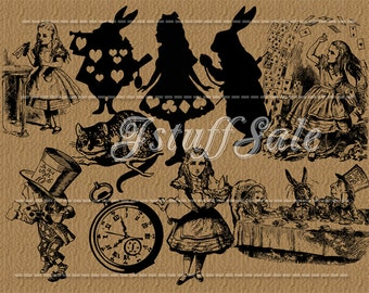 10 Alice in Wonderland Silhouette digital clipart - transparent background png files (Si01)