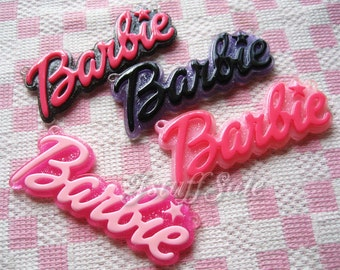 4 pcs Large glitter background Barbie logo cabochons pendants Mixed color
