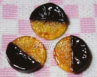 5 pcs - Orangette cabochons  (A124)