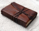 The Nature Notebook - Toffee Brown Leather Notebook with Aged Paper & Vintage Ink Stamps