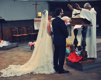 Cathedral Length Veil With 3D Hearts