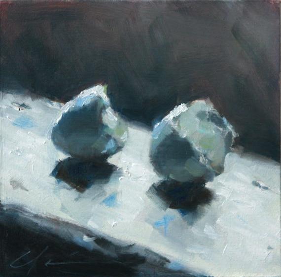 Peaceful Blue Robin's Eggs on a Window Sill, Still Life with Shadows, Original Painting by Clair Hartmann