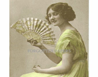 Lovely Edwardian Actress - LILY ELSE - With Large Fan - Pastel Tinted Real PHOTO Postcard