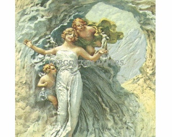 Artist Signed  DOMENICO MASTROJANNI Vintage Postcard - Fantasy Nymph & Cherubs - Sculpture Photograph