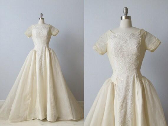 vintage 1950s Wedding Dress / 50s Wedding Gown / Eternity