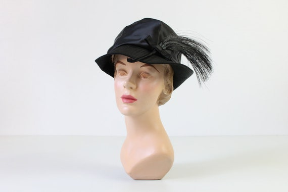 1960s Hat / Black Hat with Feather / Mr. John
