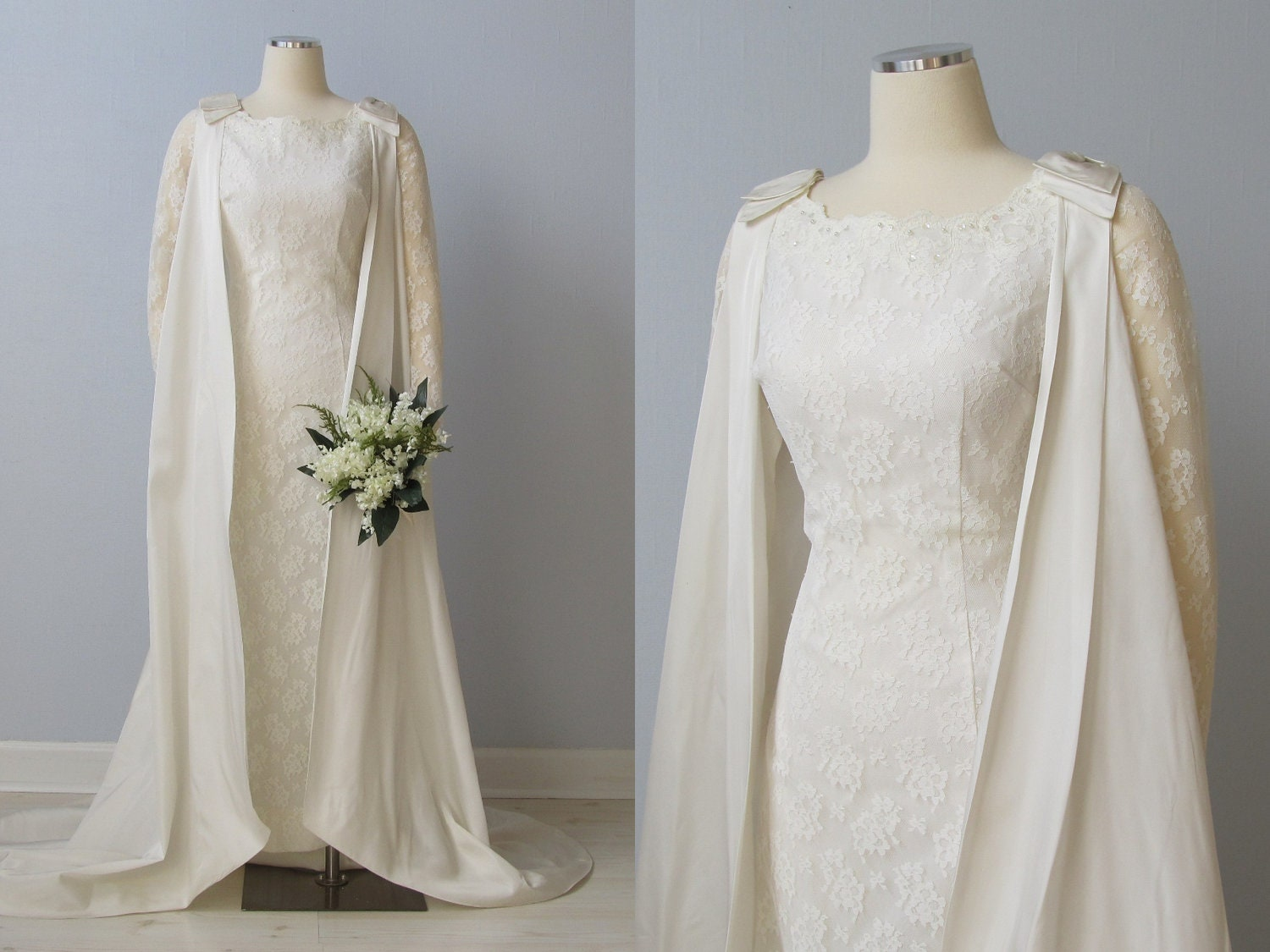 Reserved 1960s wedding dress 60s bridal gown removable for Wedding dress with cape train
