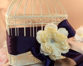 Pretty Peonies Wedding Card Box with Rhinestone and Satin Sash Accents...Shown in ivory/eggplant deep purple