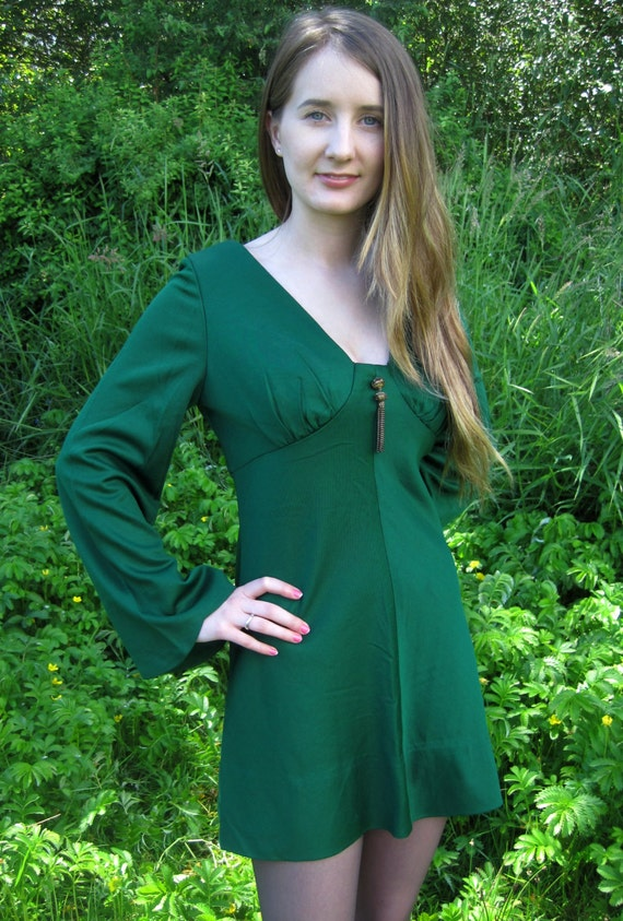 70's Emerald Green Mini Dress with Bell Sleeves and Metal Tassle
