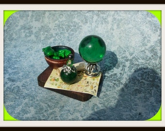 Gothic Witch Frog Spell tray dollhouse miniature Halloween ooak