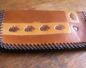 Soft Leather Checkbook Cover Hand Laced and Stamped part of our Western Series Leaf