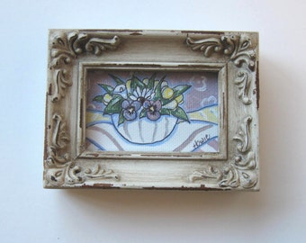 Lavender Floral Still life Painting, Acrylic on canvas, Home Decor, Shabby rustic frame, gift idea