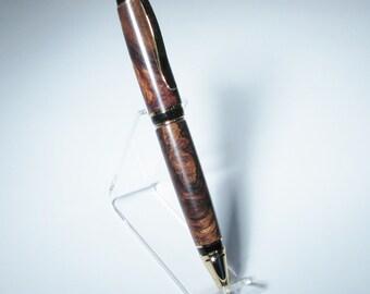 Elegant Honduran Rosewood Burl Hand Turned Rollerball Pen in Gift Box
