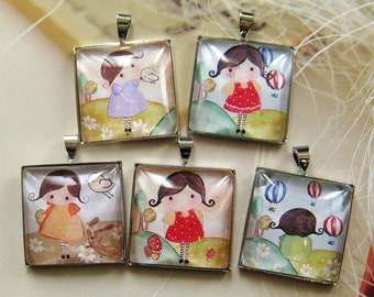 Handmade glass pendant/charm - 5 pcs (PA-Alice-Set A)