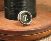 "Gift for Man - Authentic Black ""Z"" Typewriter Key Tie Tack / Lapel Pin / Purse or Hat Pin - Great Groomsmen Gifts - Other Letters Available"