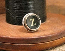 """Gift for Man - Authentic Black """"Z"""" Typewriter Key Tie Tack / Lapel Pin / Purse or Hat Pin - Great Groomsmen Gifts - Other Letters Available"""