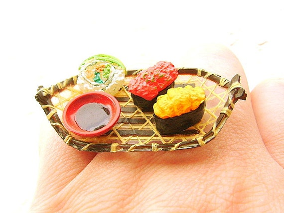 Sushi Ring Miniature  Food Jewelry