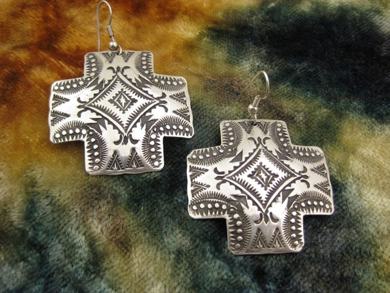 Earrings - Sterling Silver - Vincent Platero - Navajo - Old Style - Santa Fe Cross - Southwest - Signed Stamped VJP