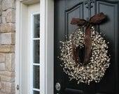 Berry Wreaths - Front Door Wreath - Chocolate and Cream - WEDDING Wreaths - Wedding Decor