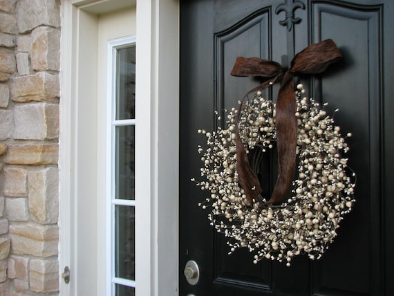 Berry Wreaths - Front Door Wreath - Chocolate and Cream - WEDDING Wreaths - Wedding Decor