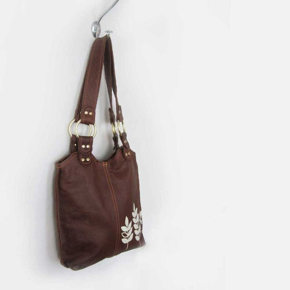 SALE - dark brown small leather tote - brown leather bag - small leather handbag - ready to ship