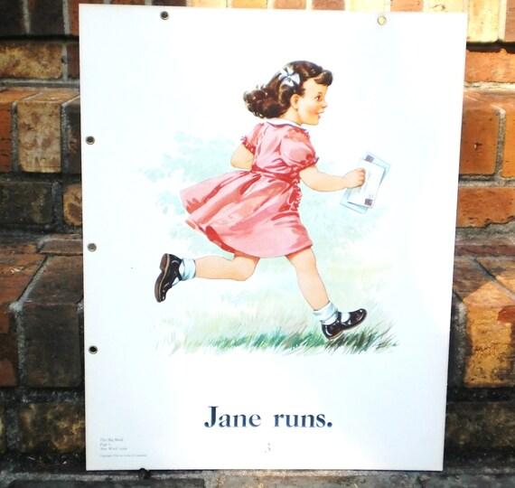 School Poster Childrens Reading Chart, Vintage Teachers Dick Jane era Primer Beginning Reader Books Mid Century Ephemera Billy, Dog Rex 50s