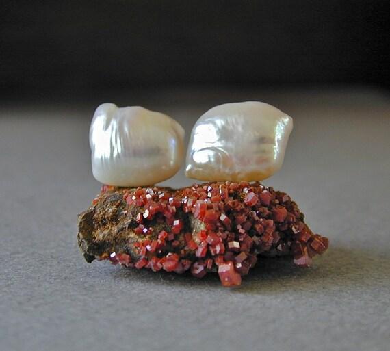 Pearl Stud Earrings, Unique Pearl Earrings, White Pearl Earrings, Pillow Pearls, 14kt Gold Posts