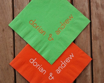 Personalized Paper Napkins | Cocktail Napkins | Corner Names | Wedding | Anniversary | Party | Custom