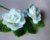 3 Tiny Velvet Roses in White with green leaves for Bridal, Hairpins, Boutonnieres, Millinery, Miniatures, Doll Clothes. MF 55