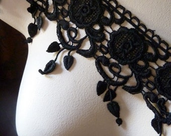 Black Lace Venise Style for Corsets, Costume or Jewelry Design CL 6013 black