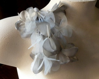 Gray Silk Organza Flowers for Bridal, Boutonnieres, Headbands, Hats, Sashes, Corsages. MF37