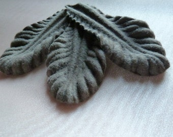 3 Felt Leaves Old Stock in Mocha for Millinery, Headbands, Pins