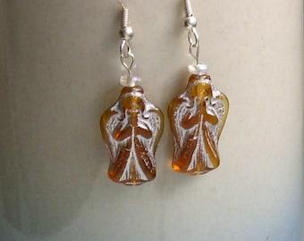 Angel Amber Glass Silver Earrings