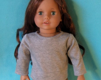 American Made 18 inch Doll Long Sleeved Heather Gray Crew Neck T-Shirt