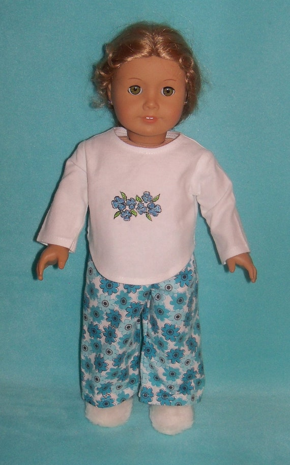 American Made 18 inch  Doll Blue Flowers Pajamas