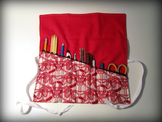 Utensil and Pencil Roll - Red Roller coaster Thrill