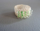 Custom Neon Green and Neutral Gloss Seed Bead Ring