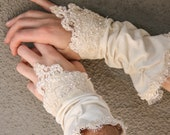 ON SALE Wedding Accessories,Up-cycled Vintage Kid Gloves, Wedding Accessory Gloves, Lace Gloves Mitts