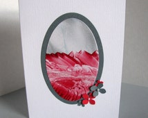 Encaustic Oval Painting on Card with 3D Red & Gray Flowers Adorned with Pearls. Christmas, December, Winter. Encaustic Art Card. A2 Size