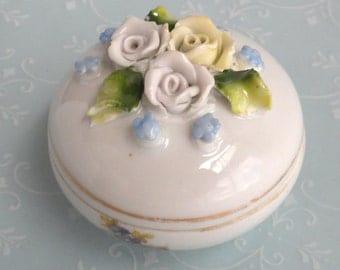 Round Porcelain Trinket Box with Roses - Vintage Signed Germany
