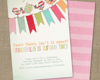 PRINTABLE Vintage Little Birdie birthday party or baby shower invitation