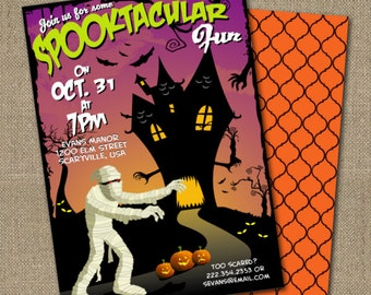PRINTABLE Retro Mummy Halloween party invitation and coordinating back