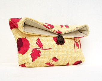 Makeup Bag, Pink  Flowers on Cream Yellow Clutch Purse, Great for Travel, Gift Under 25, Bridesmaid Gift