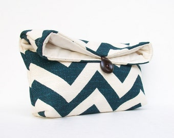 Deep Sea Blue Chevron Clutch, Midnight Blue Zigzag Clutch, Natural Ivory, Chevron Makeup Bag, Bridesmaid Gift, Wedding Bag
